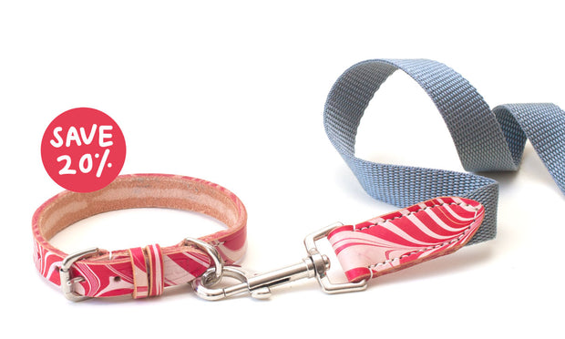 pretty red marbled leather dog collar + lead set, save 20%