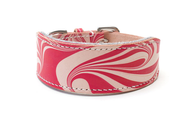 Style Candy Cane, red and white leather Sighthound collar
