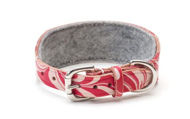 Candy Cane red and white Sighthound Dog Collar