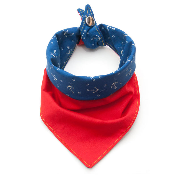 Captain reversible dog bandana showing red side