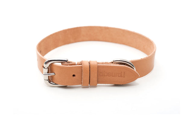 Natural leather custom sized dog collars
