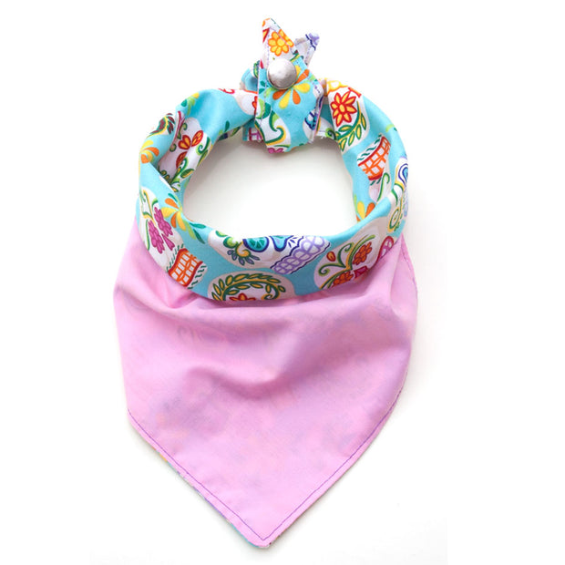 Dead Happy reversible dog bandana showing pink side