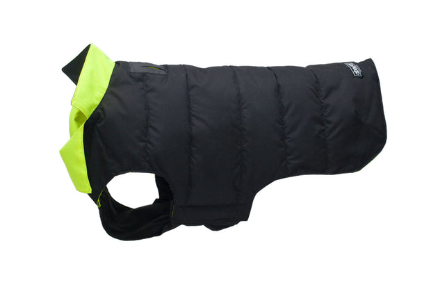 black and hi vis dog coat