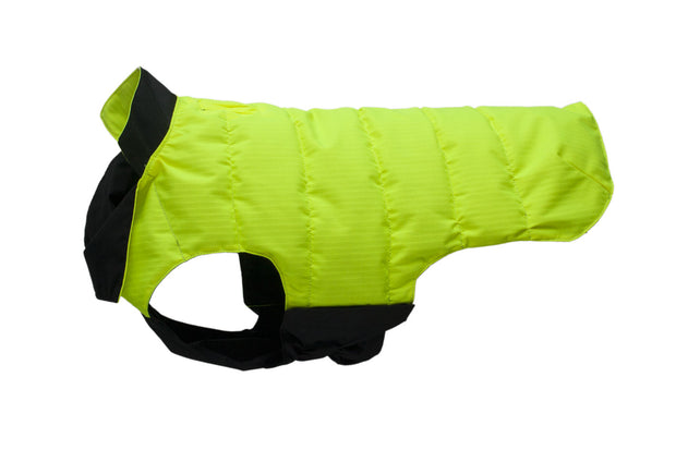 waterproof dog coat showing black hi vis side