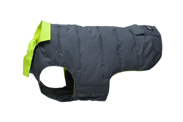 grey and hi vis dog coat