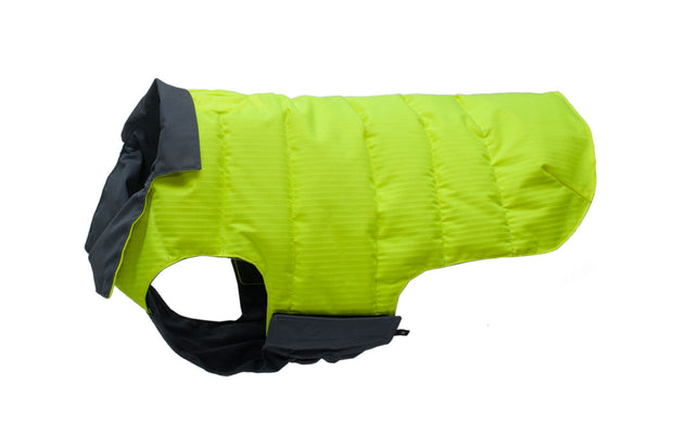 waterproof reversible hi vis and grey dog coat