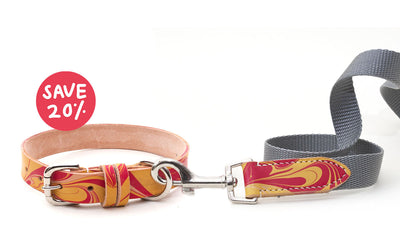 marbled red and yellow leather dog collar + grey webbing lead matching set