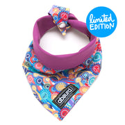 Rosette patterned reversible fabric dog bandana