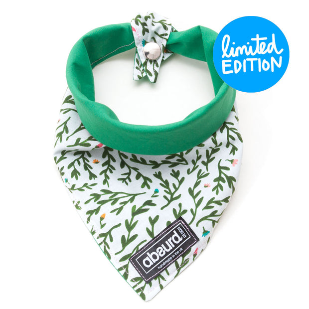 Green and white floral reversible dog bandana