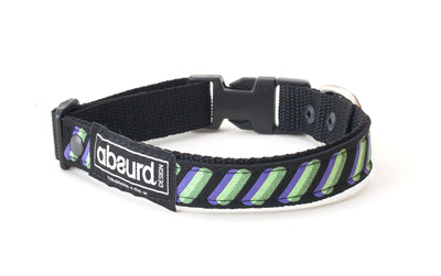 neoprene dog collar with funky green and purple design