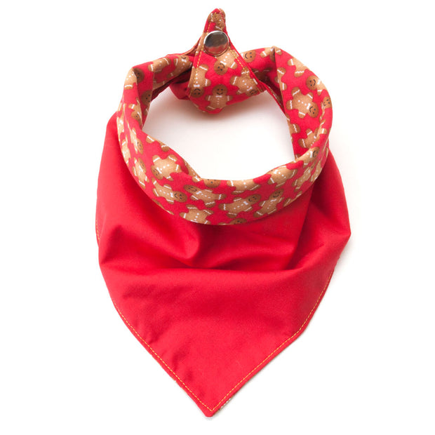 Happy Christmas reversible dog bandana showing red side