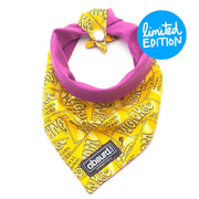 Yellow Willie Wonka patterned reversible dog bandana