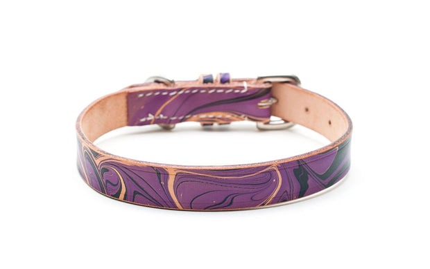 purple and black marble patterned leather collar - Gothic
