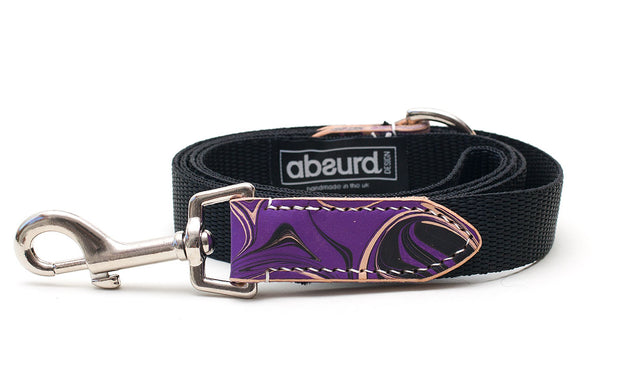 Gothic Purple and Black Dog Lead Leash