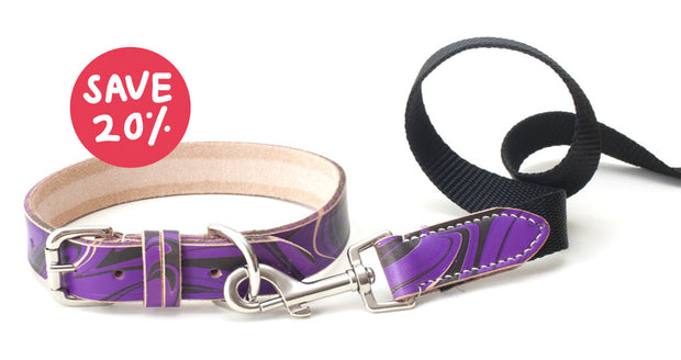 Save 20% buy Set of purple and black leather collar + matching webbing lead