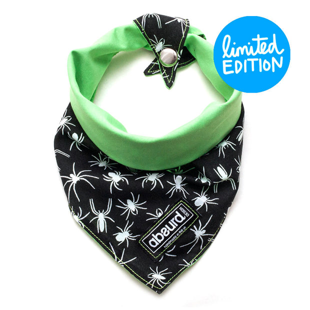 Halloween spider dog bandana reversible to green