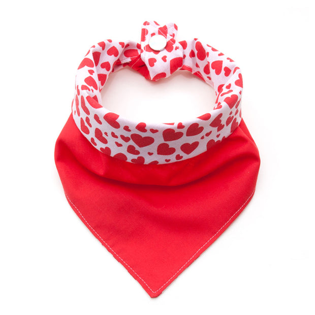 Heartbreaker reversible dog bandana showing red side