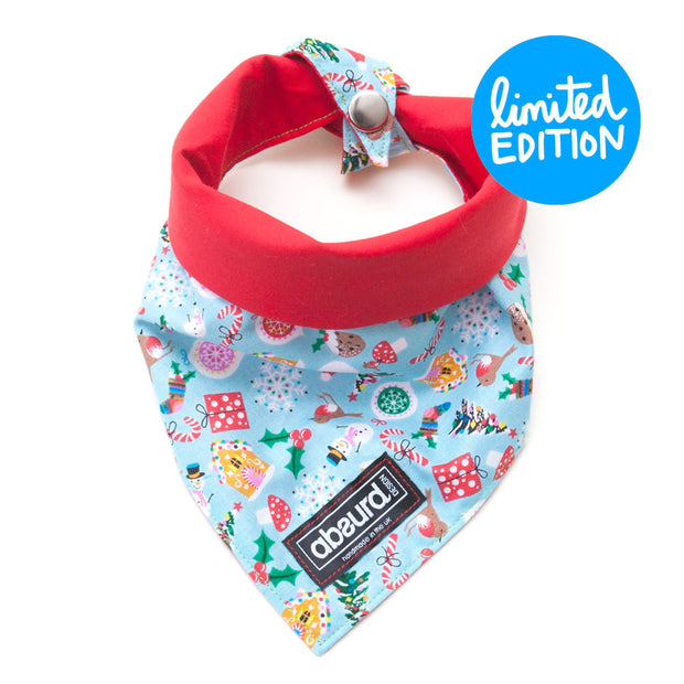 Christmas icons on pretty reversible dog bandana