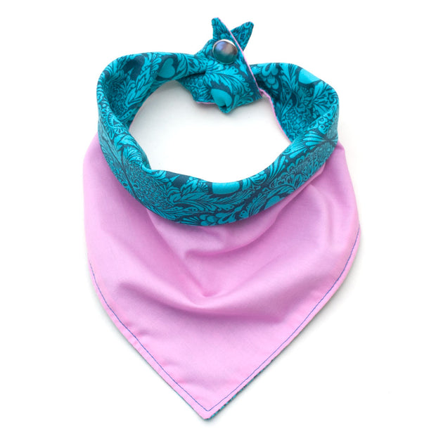 pink/teal patterned reversible bandana