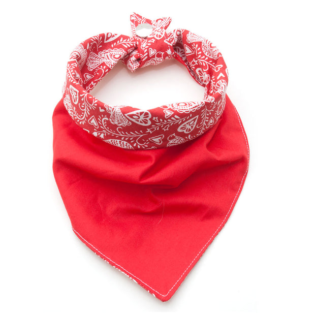 reversible dog neckerchief showing red side