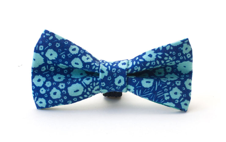 Floral blue fabric dog dickie bow