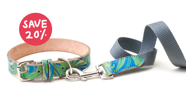 patterned blue and green leather collar + webbing lead matching set