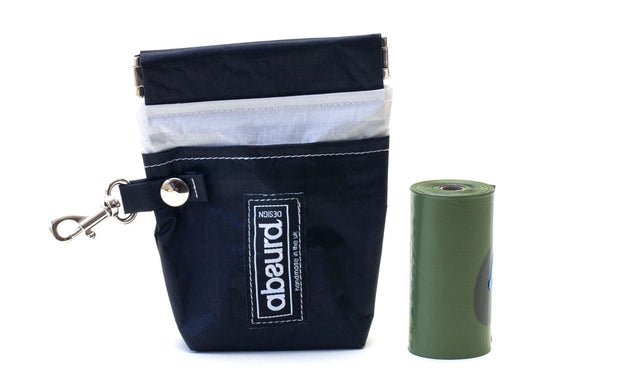 Black lightweight poop bag holder and dog treat pouch