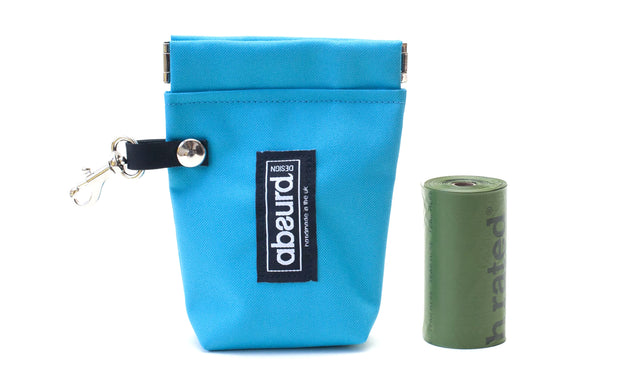 bright blue dog treat pouch and poop bag holder