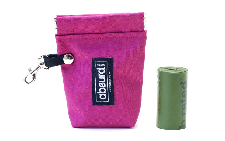 bright pink dog treat pouch and poop bag holder