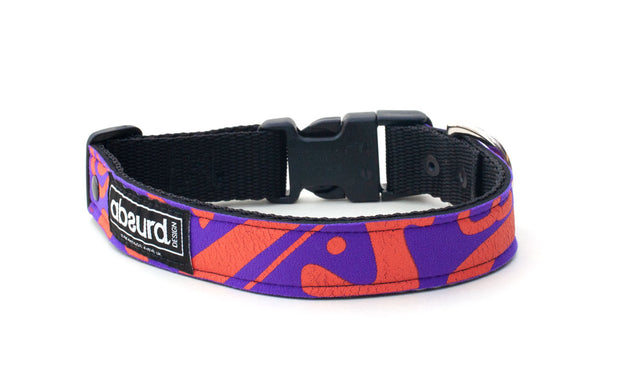 neoprene dog collar with modern orange and purple design