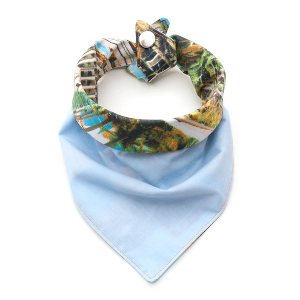 Palm Springs reversible bandana pale blue/palm tree side