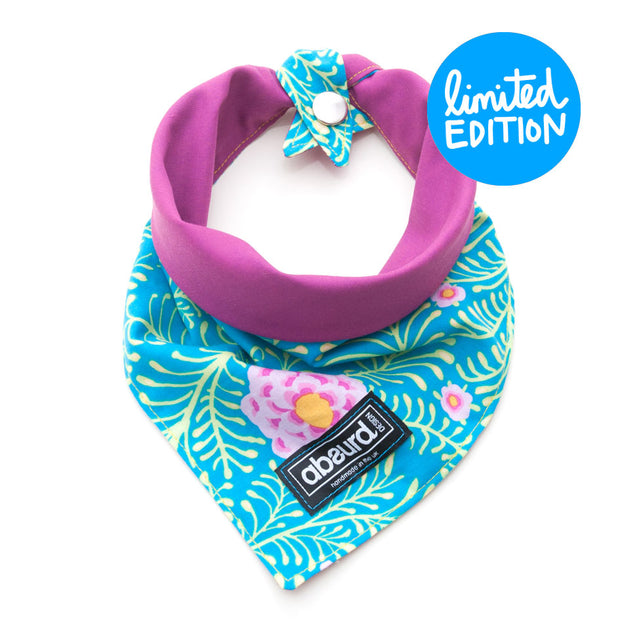 fun reversible dog bandana blue and pink floral pattern