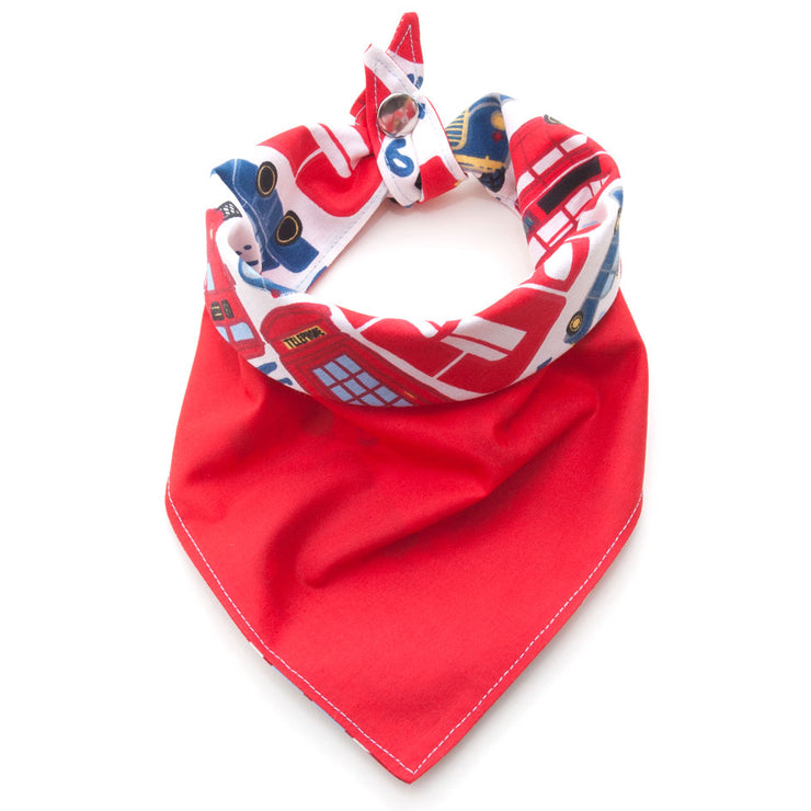 Piccadilly Circus reversible dog bandana showing red side