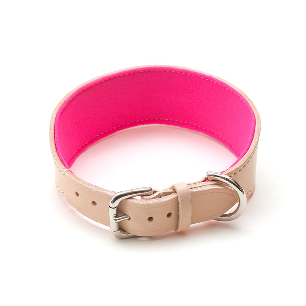 leather sighthound collar with buckle and pink felt lining