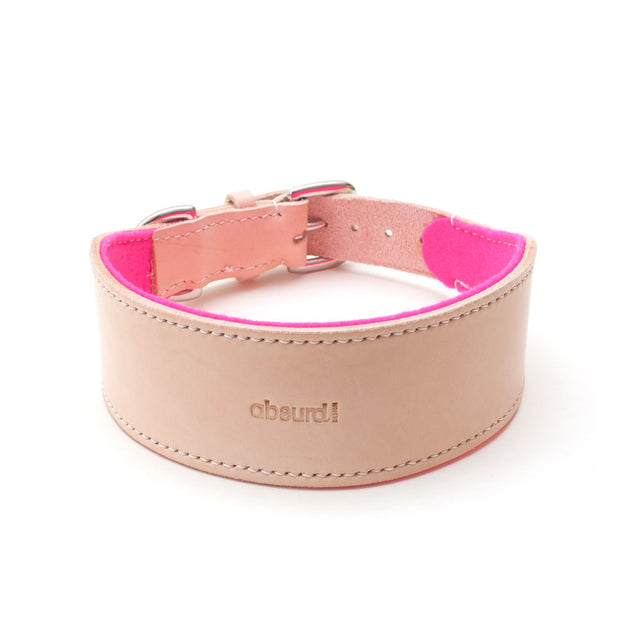 Natural leather hound collar with pink felt lining