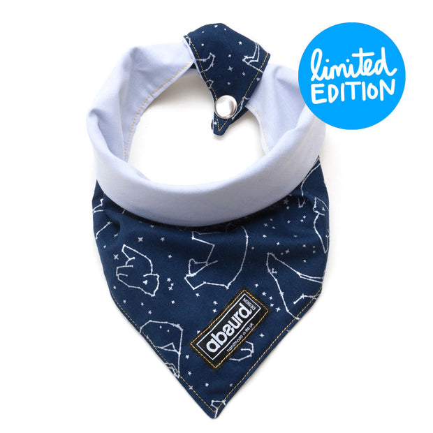 navy patterned reversible fabric dog bandana