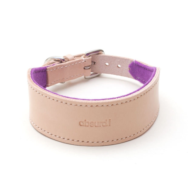 Natural leather hound collar with purple felt lining