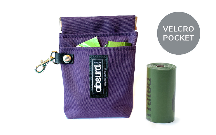 Poop Bag Holder & Treat Bag with Pocket : Purple