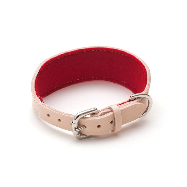 leather sighthound collar with buckle and red felt lining