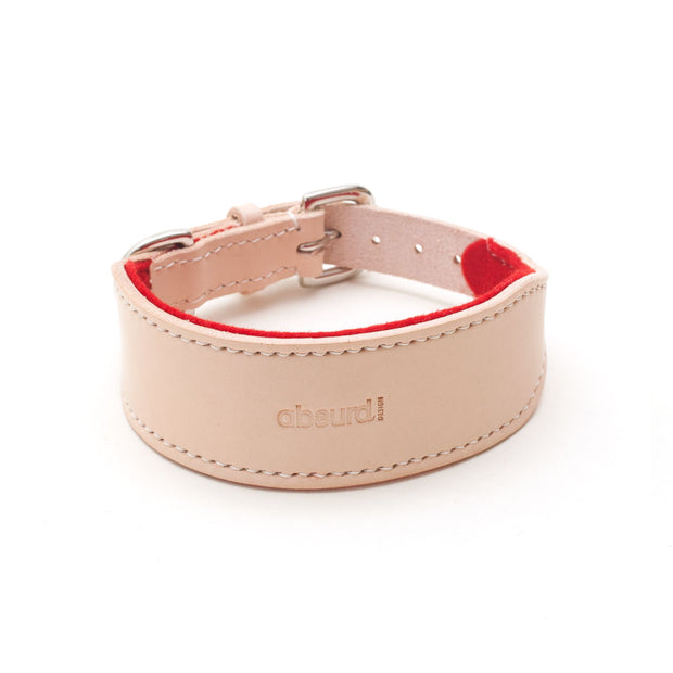 Natural leather hound collar with red felt lining