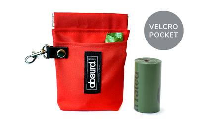 Poop Bag Holder & Treat Bag with Pocket : Red