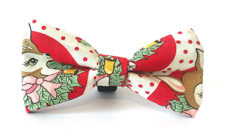 Christmas Fabric Bow : Reindeer Kitsch Red