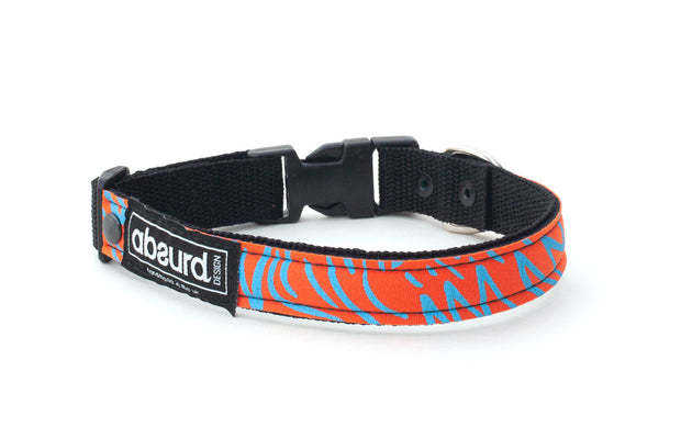Orange neoprene dog collar with funky blue design