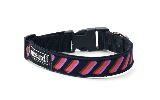 colourful neoprene collar, red and purple screen printed design