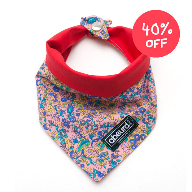 floral pink to red reversible fabric dog bandana, 40% off