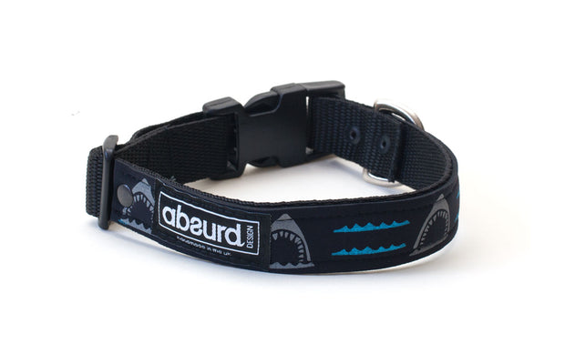 black neoprene dog collar with fun blue & grey shark design
