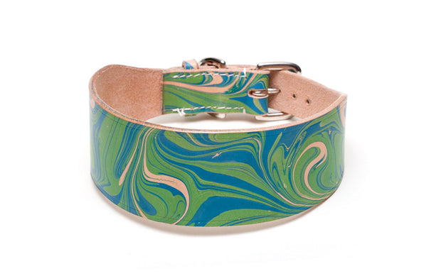Nessie blue and green leather Sighthound collar
