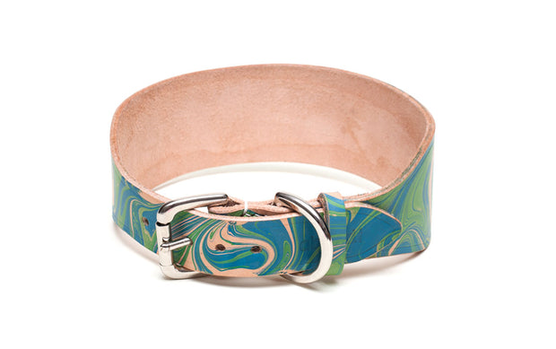 Nessie Blue and Green Sighthound collar no felt