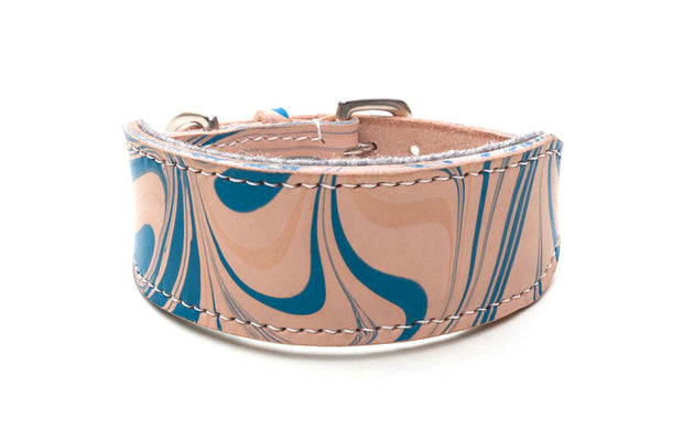 Style Siren, blue marbled leather Sighthound collar