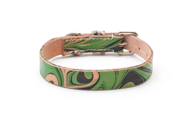 green and black marble patterned leather collar - Sleepyhead